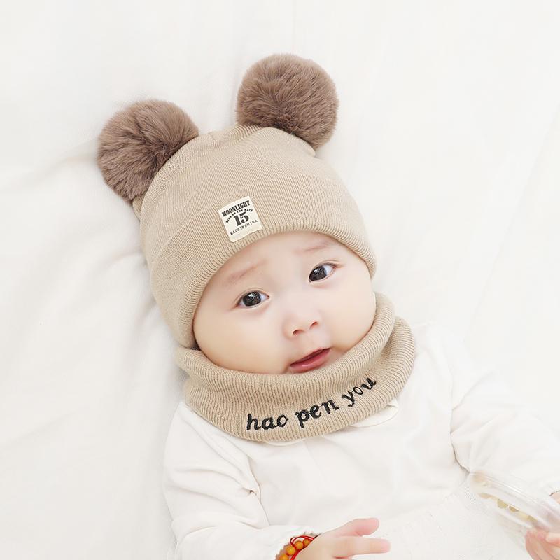 0-3-6-12个男女宝宝毛线帽加厚围脖