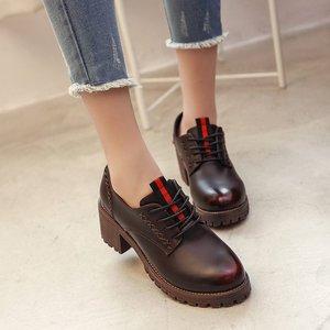 2019冬季新款低帮鞋中跟t型带女鞋