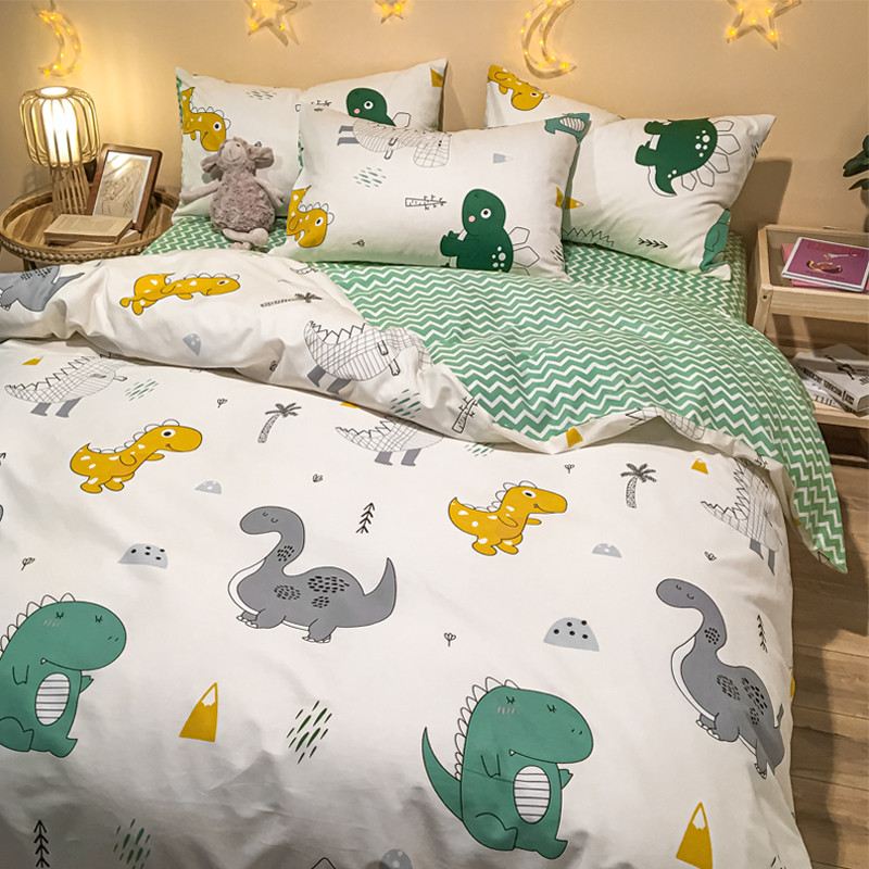 Nordic 4-piece cotton bedding 4-piece fitted sheet cartoon all cotton childrens dormitory bed single 3