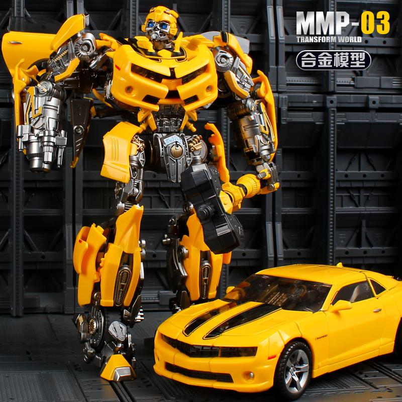 粤星变形玩具金刚5合金版大黄蜂汽车机器人手办模型男孩正版6周岁
