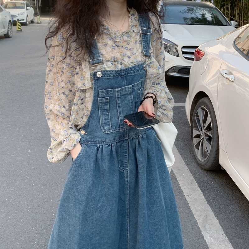Hong Kong Vintage Chic Skirt Set 2021 autumn POCKET DENIM strap skirt small suspender dress women