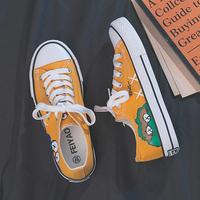 芝麻街帆布鞋女2020年春季低帮小众ins潮清创意涂鸦联名chic板鞋