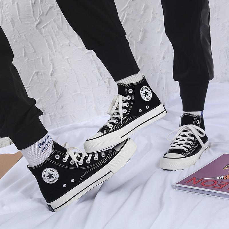 潮鞋新款港风高帮帆布鞋女韩版百搭ulzzang2019夏季学生布鞋板鞋