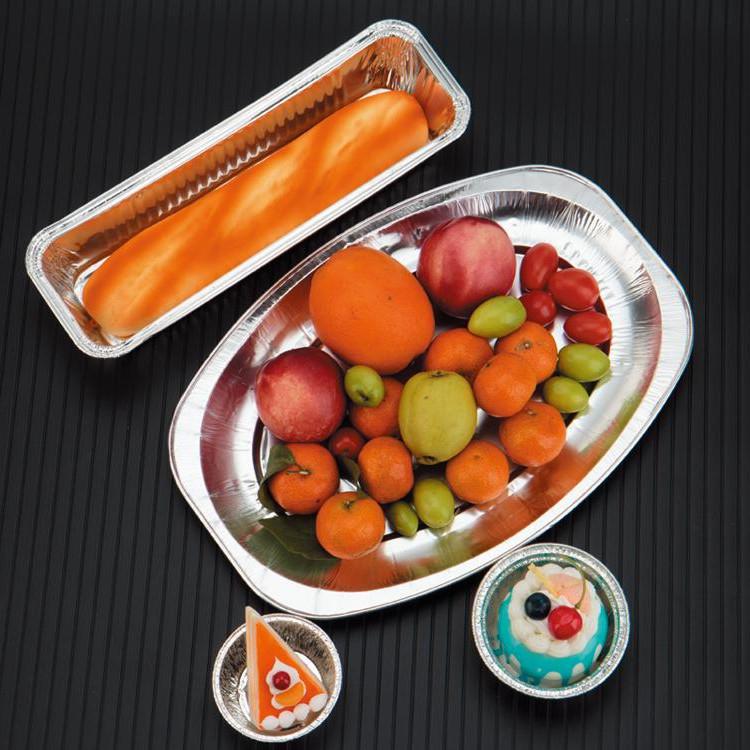 锡纸盒烧烤盒椭圆形烤鱼盘水果盘盒烤串外卖打包一次性铝箔快餐盒