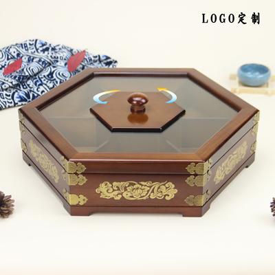 实木分格双层带盖点心盒子创意瓜子零食坚果盒客厅家用果盘干果盒