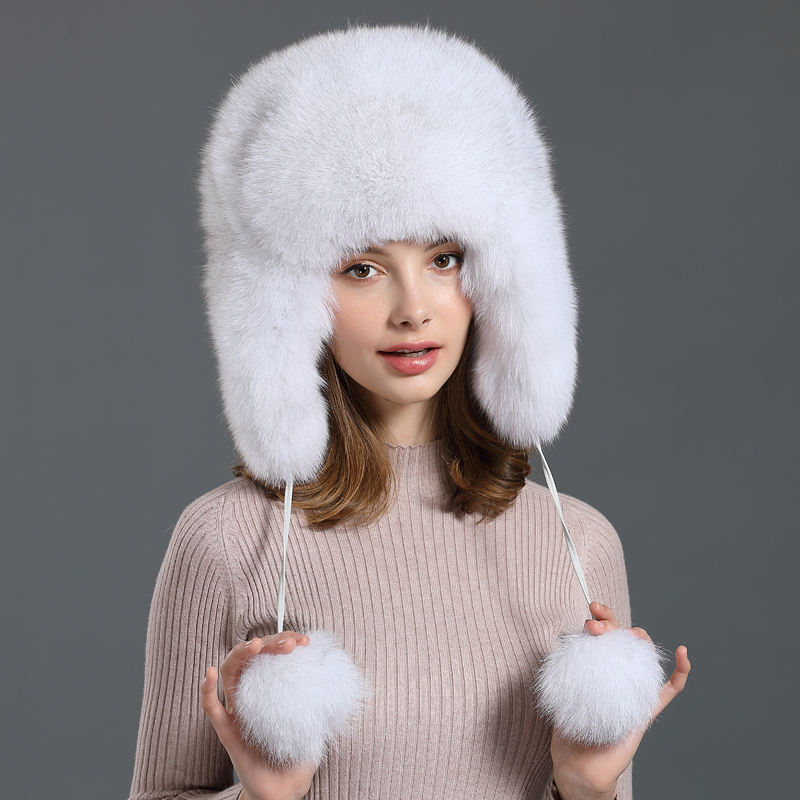 Korean new fox hair Lei Feng Hat Womens warm fur winter snow cap outdoor travel earmuff ski cap