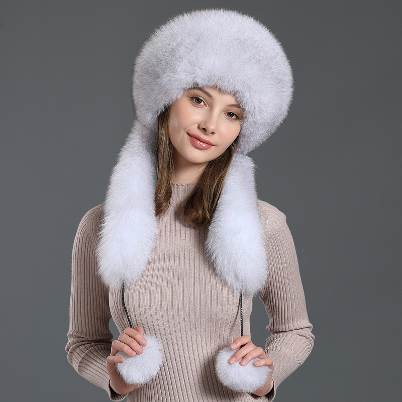 Fox hair hat scarf one female winter Korean warm ear fur hat Rex rabbit hair outdoor ski hat