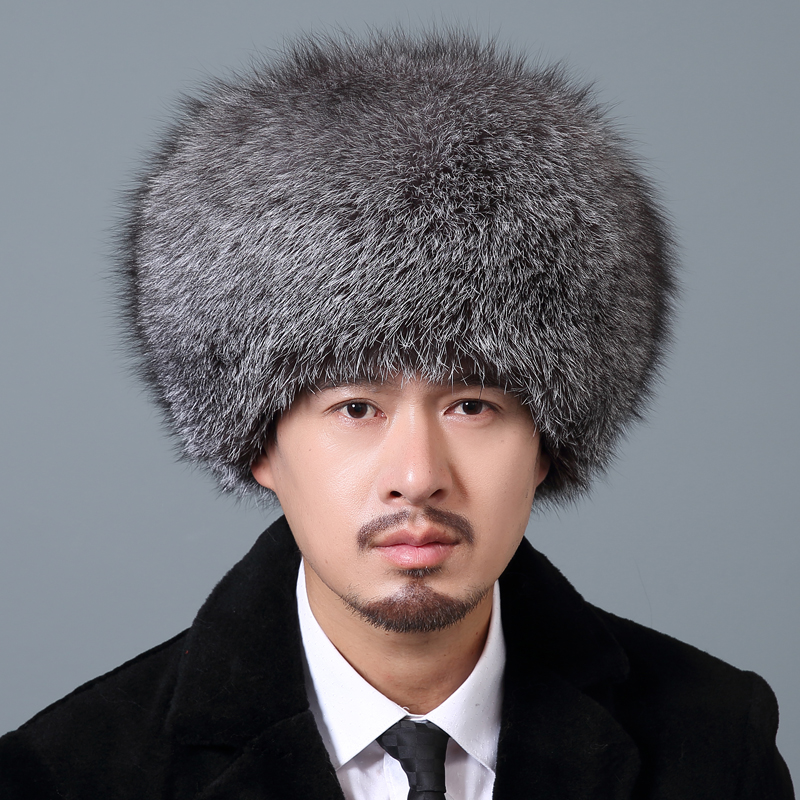 Qiu Mei fox fur hat mens whole skin fox winter outdoor travel warm fur hat Ski Hat snow cap