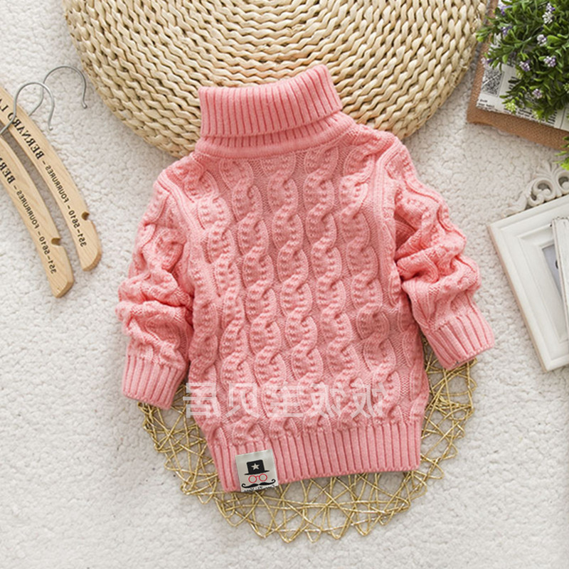 Hot autumn and winter new middle and small childrens sweater boys and girls high and low collar Pullover thickened warm solid color knitting