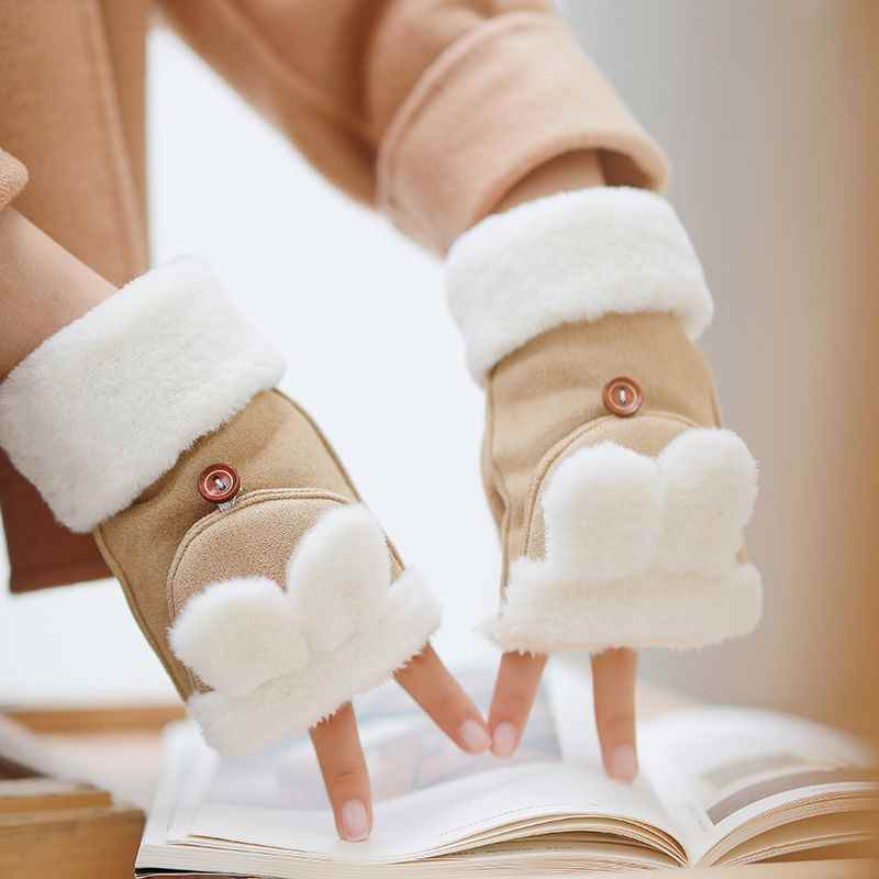 New Korean cute cartoon female winter student with even fingers thickened and plush warm full finger versatile writing gloves