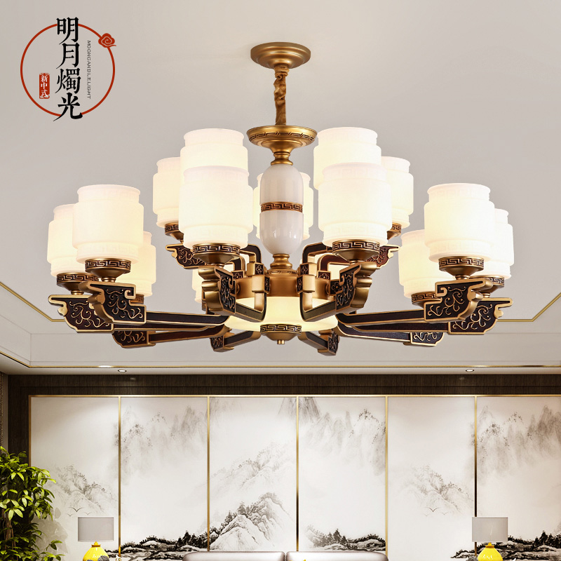 New Chinese style chandelier Chinese style modern living room dining room tea room villa hall home compound building large lamp 135