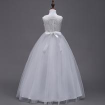 儿童连衣裙礼服长裙女童背心公主裙夏装女孩白色蓬蓬纱裙子超洋气