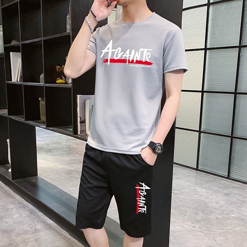 Ant wrinkle 2020 summer casual suit mens thin round neck short sleeve T-shirt youth short five point shorts