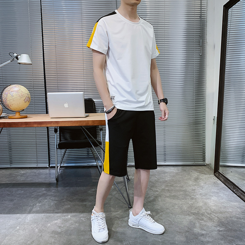 2020 summer new mens short sleeve five point pants casual sports suit outdoor running loose two-piece set