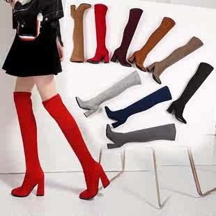 秋冬新款女士長筒靴子酒紅色粗高跟深淺灰色女鞋子駝色過火熱暢銷