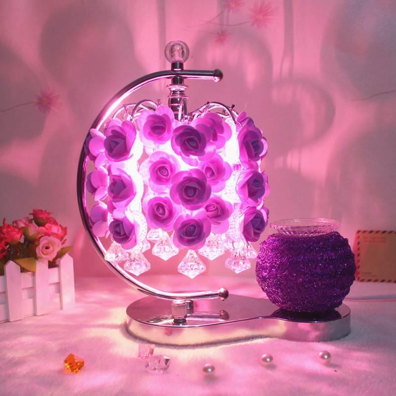 立式床头卧室台灯家用玫瑰花灯浪漫蓝色花瓣中式装饰品紫火热畅销