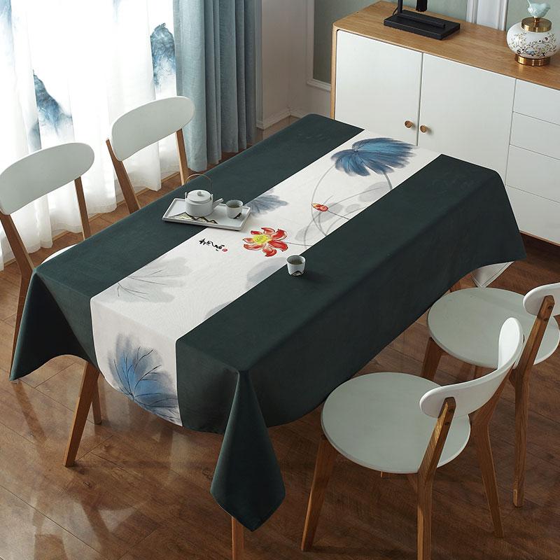 新中式桌布中国风水墨荷花布艺防水茶几餐桌布长方形禅意定制装饰