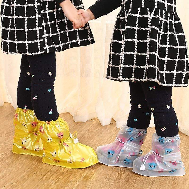 下雨天儿童防水防雨鞋套 小孩防滑加厚耐磨底鞋套 幼儿园防沙鞋套