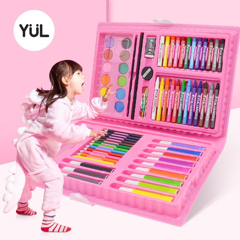 育良 儿童水彩笔可水洗24色幼儿园宝宝画笔礼盒36色小学生画画工具12色绘画套装美术学习用品48色涂色笔彩笔