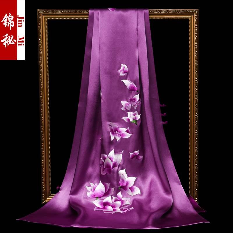 重磅真丝披肩女百搭桑蚕丝围巾刺绣苏州丝绸丝巾真丝女民族风礼品