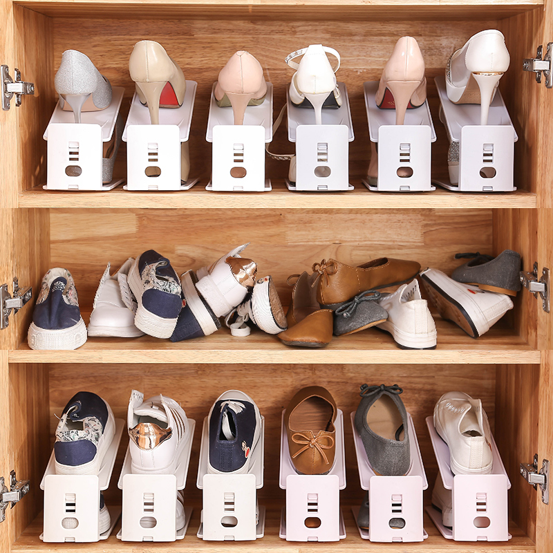 Shoe cabinet dormitory household double-layer integrated adjustable shoe rack for shoes storage