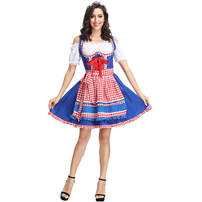 Beer Festival new clothing German Beer Festival Carnival clothing two color optional Plaid beer clothing bar clothing