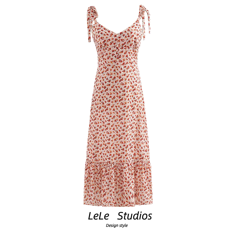 Australias small over the knee halter dress, shoulder lace up, button style, off the shoulder, medium length printed dress, womens summer