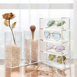 网红多格眼镜收纳盒透明亚克力隐形眼镜太阳镜盒大容量多副墨镜盒图片