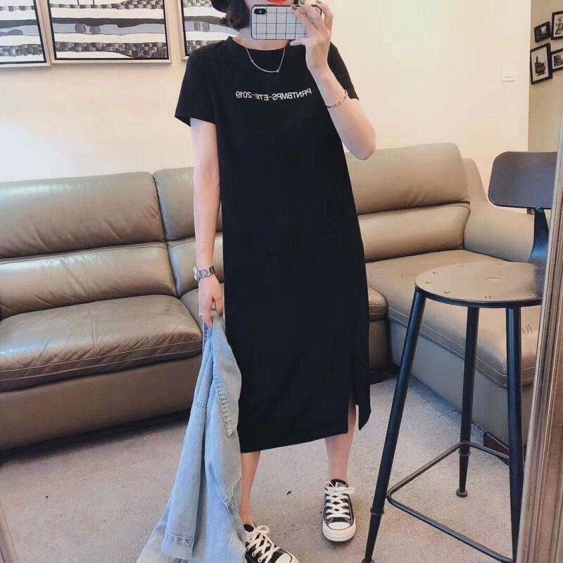 珂梵图 开叉字母短袖裙2019新款韩版宽松长款过膝黑色T恤裙衣