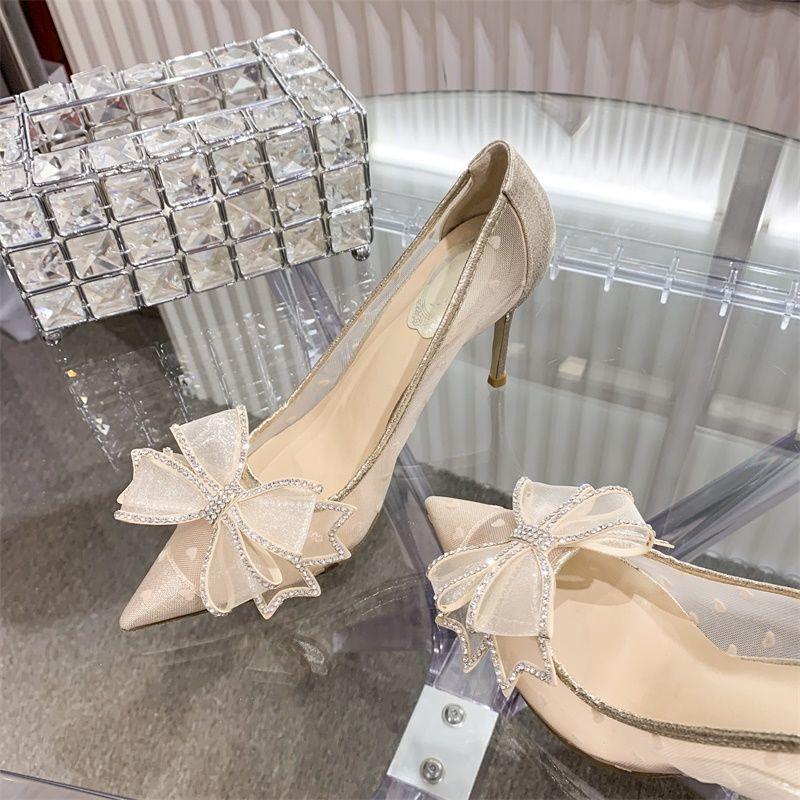水钻蝴蝶结高跟鞋女细跟2021夏新款百搭蕾丝尖头水晶单鞋婚鞋网纱