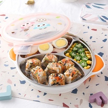 Lifang South Korea imported cartoon children's fall and scald resistant stainless steel suction cup type baby tableware water filling sub grid plate