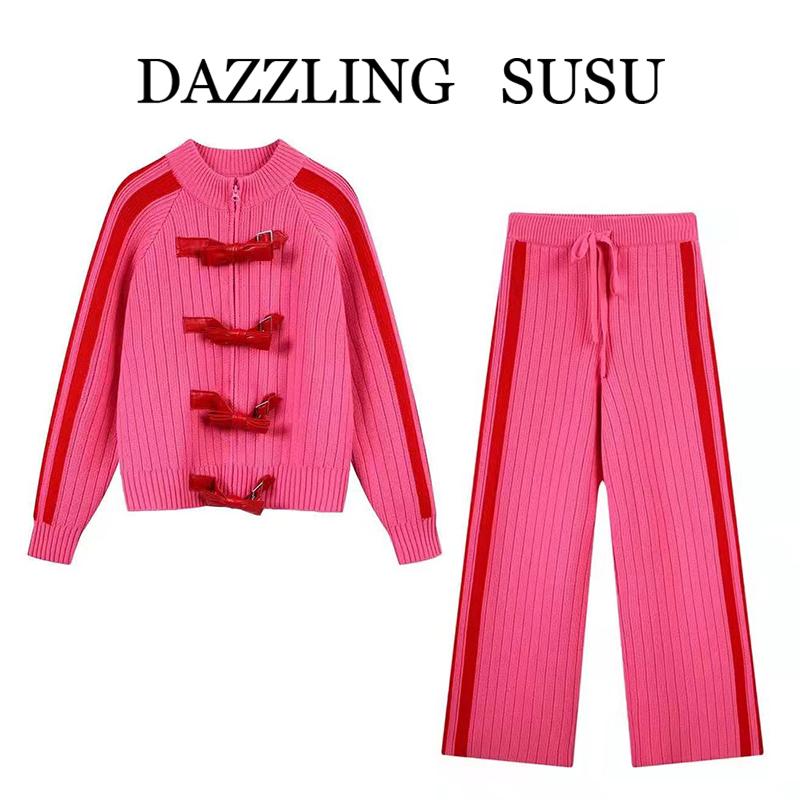 云地素2020冬季新款休闲宽松毛衣针织开衫裤子套装女UY042M4160