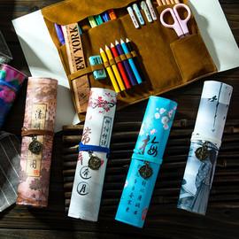 晨升 創意中國風多功能筆簾卷筆袋 簡約網紅男女孩大容量小清新鉛筆盒韓版幼兒園小學生初中生彩鉛文具盒筆盒圖片