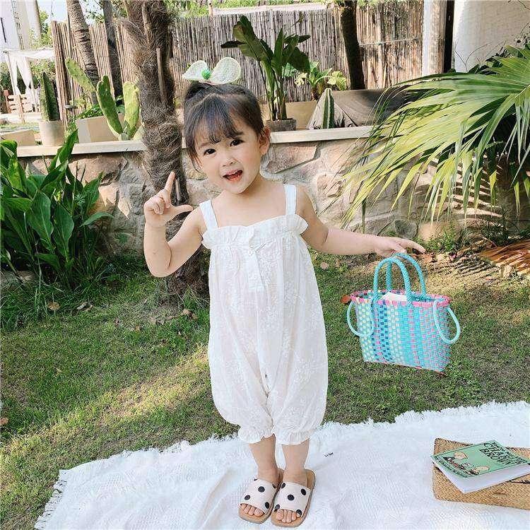 Girls Jumpsuit 2020 summer new Korean style fashionable 3 baby 4 lace suspender Jumpsuit fashion