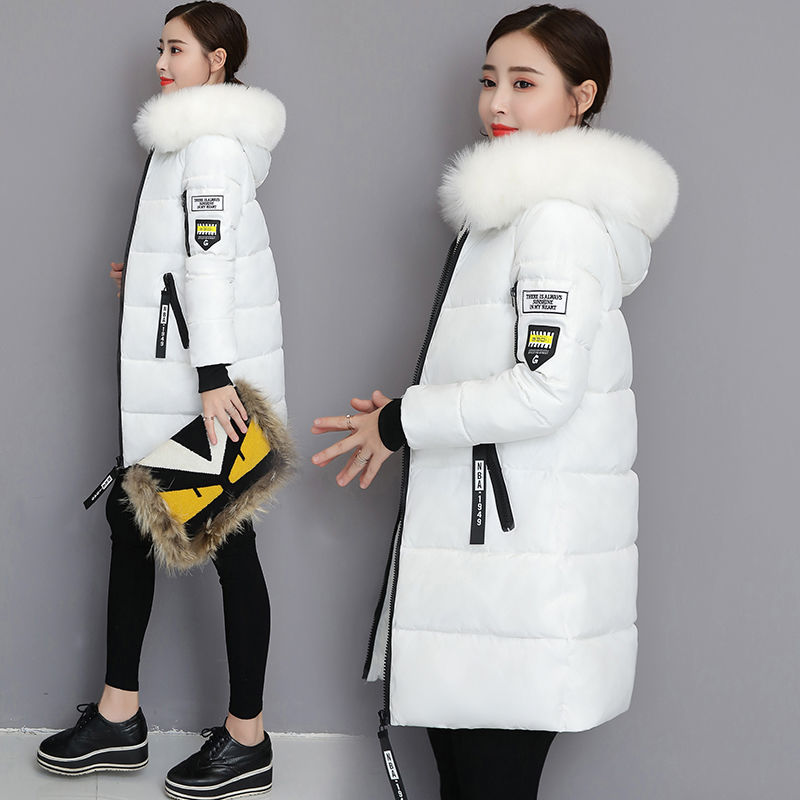 2020 winter new Korean cotton padded jacket womens large wool collar coat slim and slim