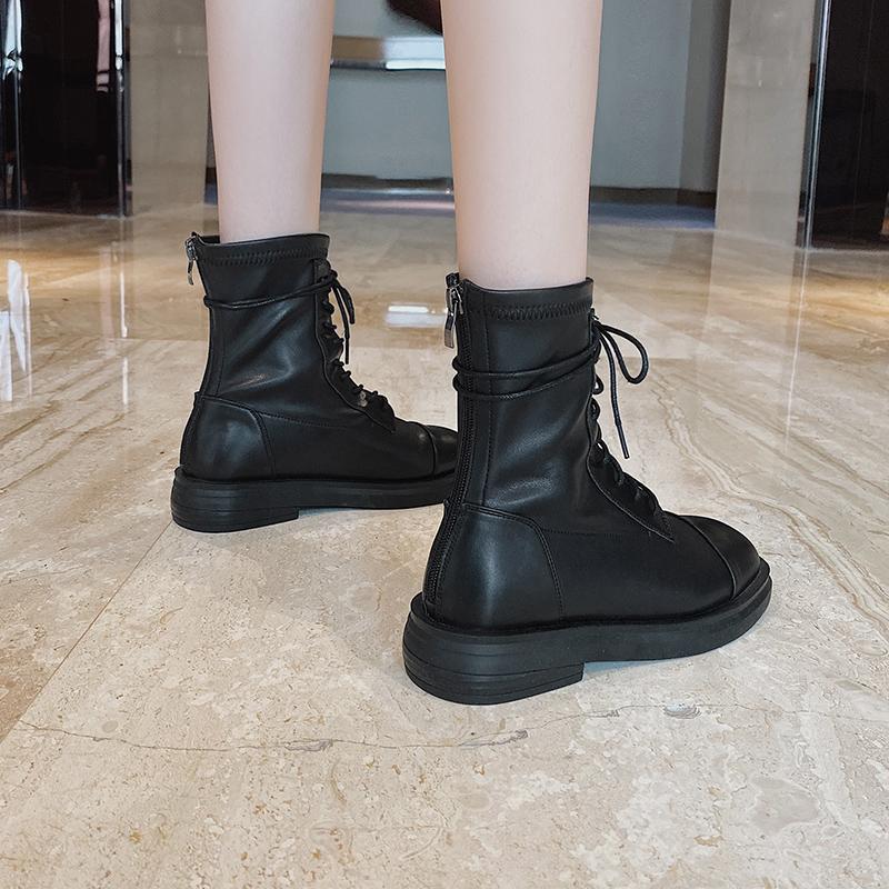 马丁靴女短靴2021年新款春季英伦单靴低跟加绒短筒网红瘦瘦靴ins