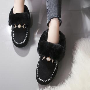 毛毛鞋社会豆豆鞋女学生韩版加绒棉鞋面包鞋女毛毛单鞋女平底女鞋
