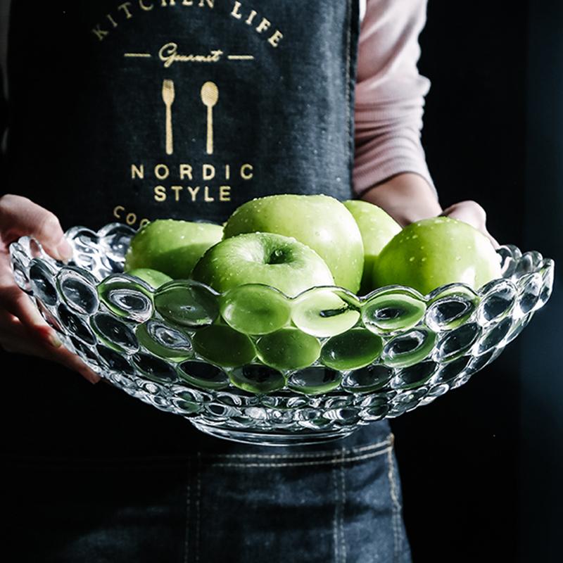 网红玻璃水果盘现代客厅家用水果篮创意北欧风格个性果盘零食盘图片