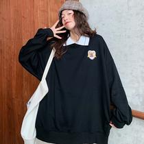 特大码230斤Polo领卫衣女宽松胖mm女装春秋薄款2020韩版显瘦上衣