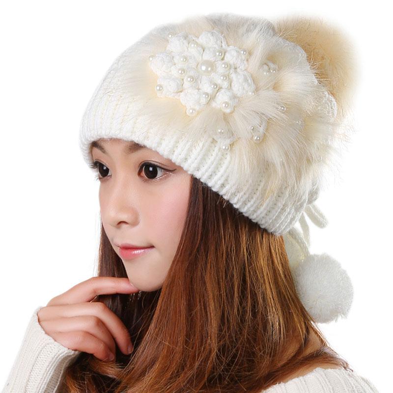 科派 韩版毛线帽子女秋冬天新款可爱保暖月子/白色护耳针织帽0392