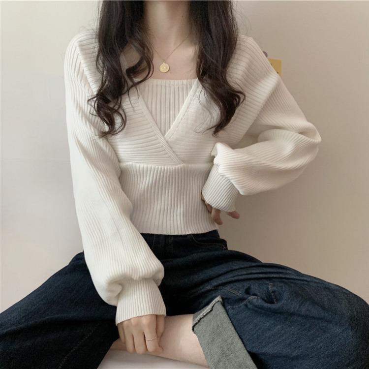 2021新款设计感小众假两件方领打底衫女早春毛衣泡泡袖针织衫女J