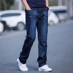 新款牛仔褲男士潮流寬松褲子百搭直筒長褲加大碼彈力休閑火熱暢銷