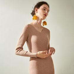 欧规则羊毛衫中长款打底针织连衣裙女2020新款春秋内搭修身毛衣裙