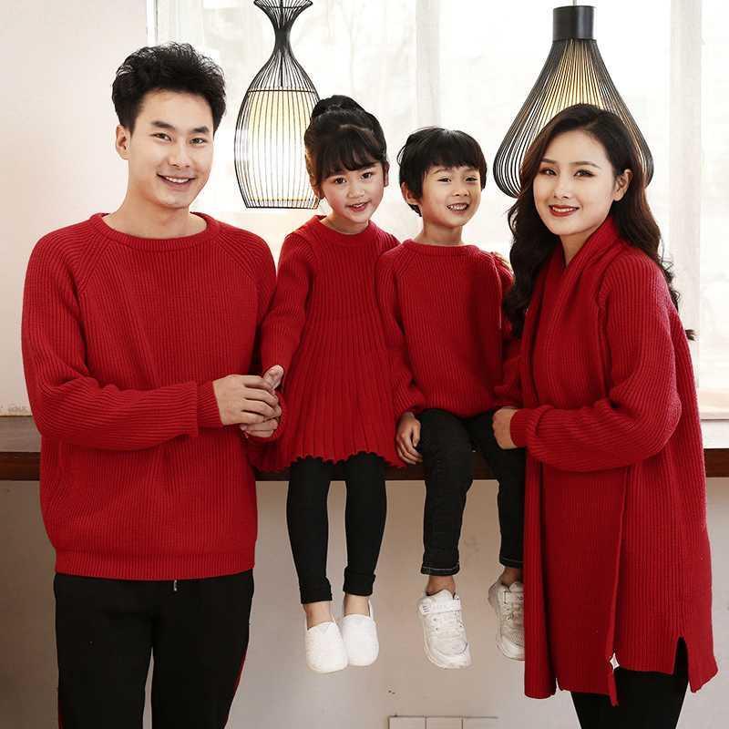 红色毛衣亲子过年服装男童女童全家父子母女一家三四口连衣裙