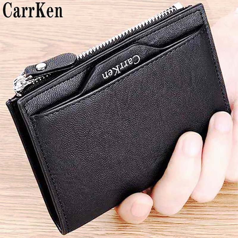 New ultra thin wallet mens short drivers license card bag vertical wallet youth trend zipper pocket