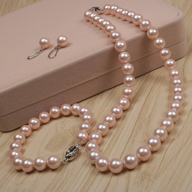 Natural pearl necklace earring bracelet three piece set fashion versatile exquisite pearl bridal dress Jewelry Set