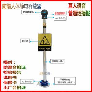 防爆人体静电释放器触摸式静电消除球仪柱声光语音报警装置