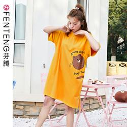 芬腾韩国布朗熊夏季清仓短袖睡裙睡衣女纯棉可爱卡通家居服连衣裙