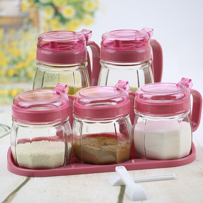 四件油壶盐味精调料盒佐料罐子家用有盖一套醋壶厨房鸡精盐瓶咸盐