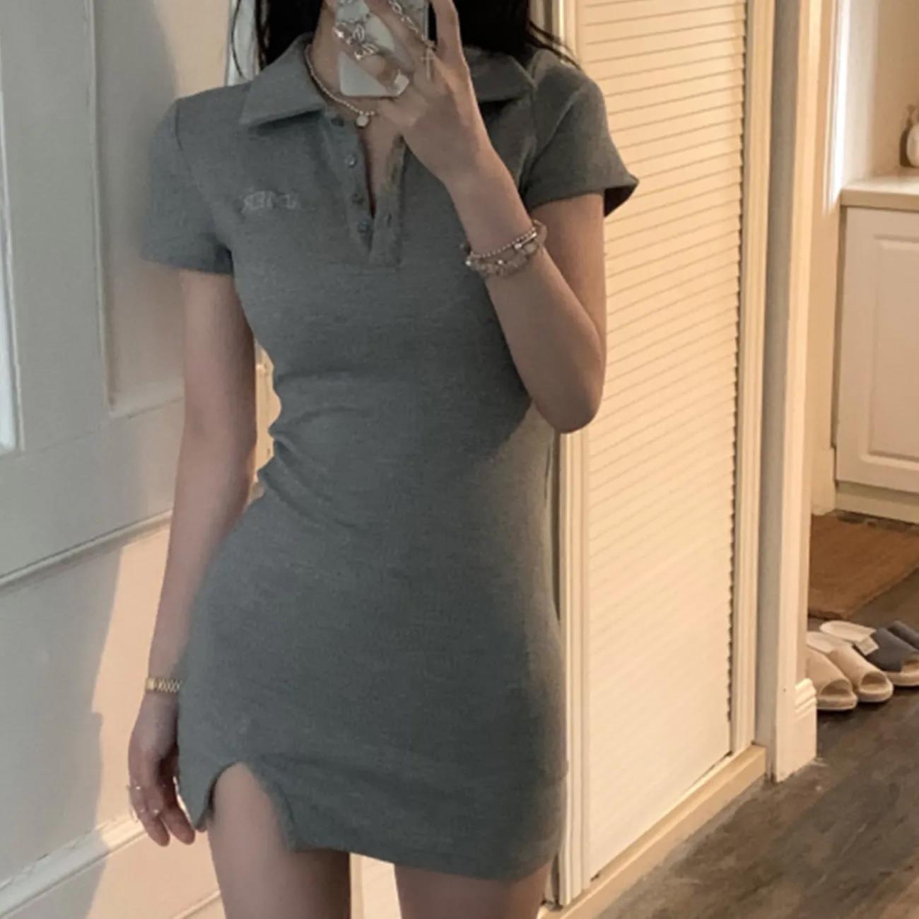 中國代購|中國批發-ibuy99|短裙|复古polo领针织连衣裙纯欲修身开叉包臀短裙女夏季2021年新款裙子
